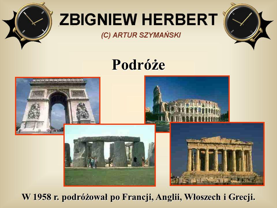 Podróże W 1958 r. podróżował po Francji, Anglii, Włoszech i Grecji.