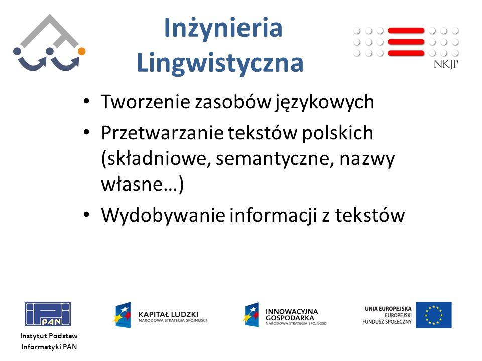 Instytut Podstaw Informatyki PAN Inżynieria Lingwistyczna Tworzenie zasobów językowych Przetwarzanie tekstów polskich (składniowe, semantyczne, nazwy
