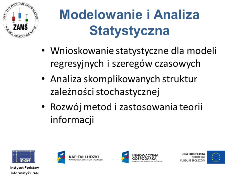 Instytut Podstaw Informatyki PAN Modelowanie i Analiza Statystyczna Wnioskowanie statystyczne dla modeli regresyjnych i szeregów czasowych Analiza sko