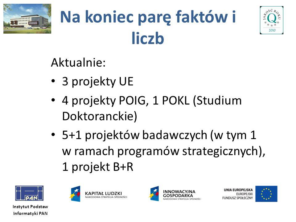Instytut Podstaw Informatyki PAN Na koniec parę faktów i liczb Aktualnie: 3 projekty UE 4 projekty POIG, 1 POKL (Studium Doktoranckie) 5+1 projektów b