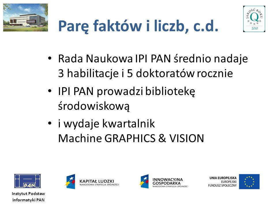 Instytut Podstaw Informatyki PAN Parę faktów i liczb, c.d. Rada Naukowa IPI PAN średnio nadaje 3 habilitacje i 5 doktoratów rocznie IPI PAN prowadzi b