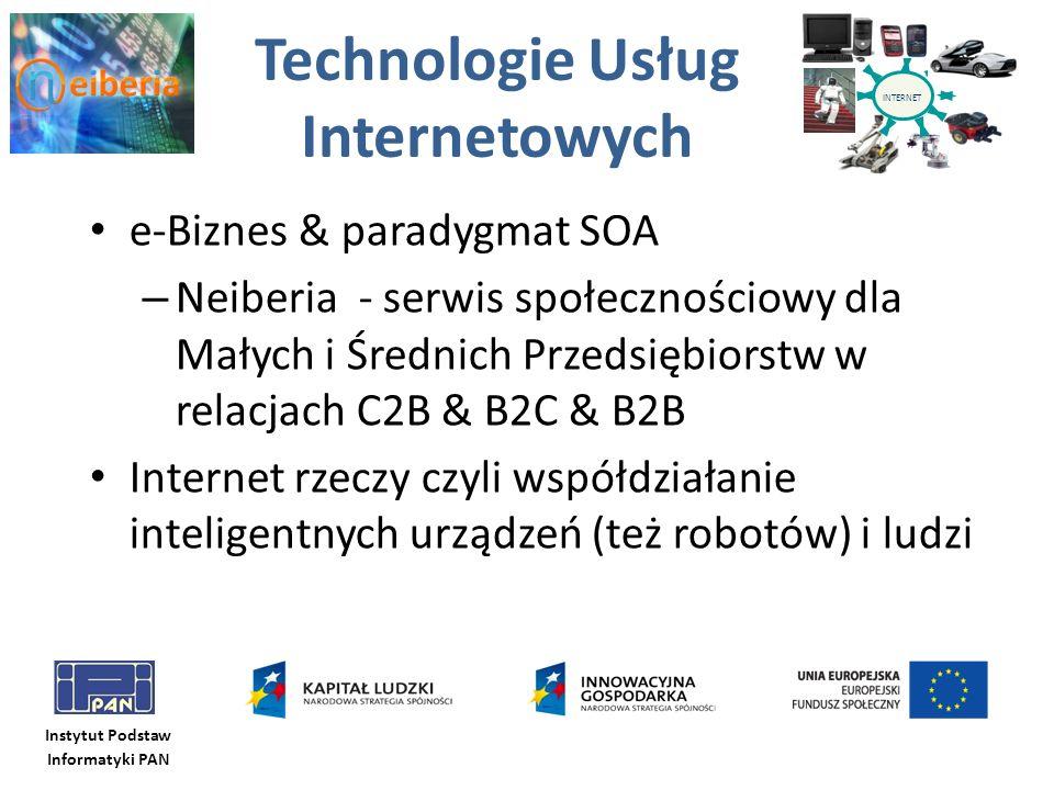 Instytut Podstaw Informatyki PAN Technologie Usług Internetowych e-Biznes & paradygmat SOA – Neiberia - serwis społecznościowy dla Małych i Średnich P
