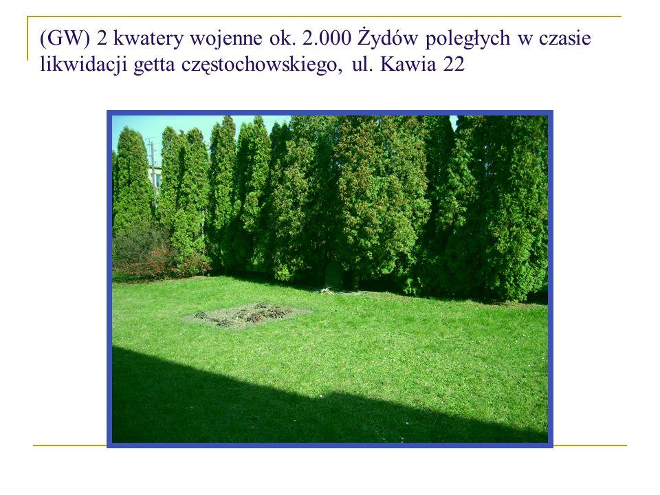 (GW) 2 kwatery wojenne ok. 2.000 Żydów poległych w czasie likwidacji getta częstochowskiego, ul. Kawia 22