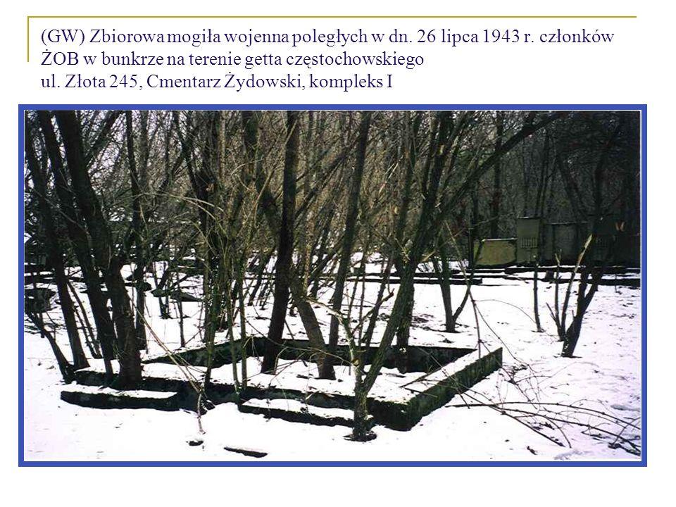 (GW) Zbiorowa mogiła wojenna poległych w dn. 26 lipca 1943 r. członków ŻOB w bunkrze na terenie getta częstochowskiego ul. Złota 245, Cmentarz Żydowsk
