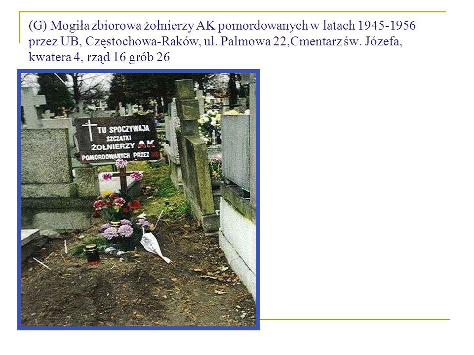 (G) Mogiła zbiorowa żołnierzy AK pomordowanych w latach 1945-1956 przez UB, Częstochowa-Raków, ul. Palmowa 22,Cmentarz św. Józefa, kwatera 4, rząd 16