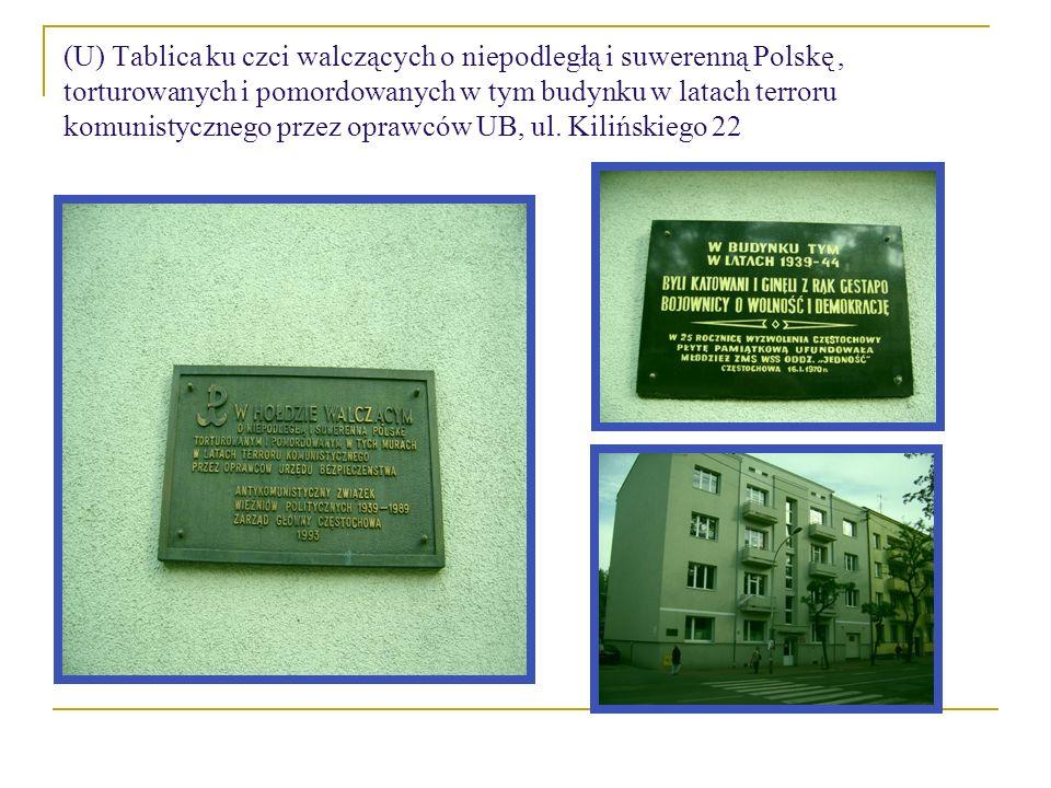 (U) Tablica ku czci walczących o niepodległą i suwerenną Polskę, torturowanych i pomordowanych w tym budynku w latach terroru komunistycznego przez oprawców UB, ul.
