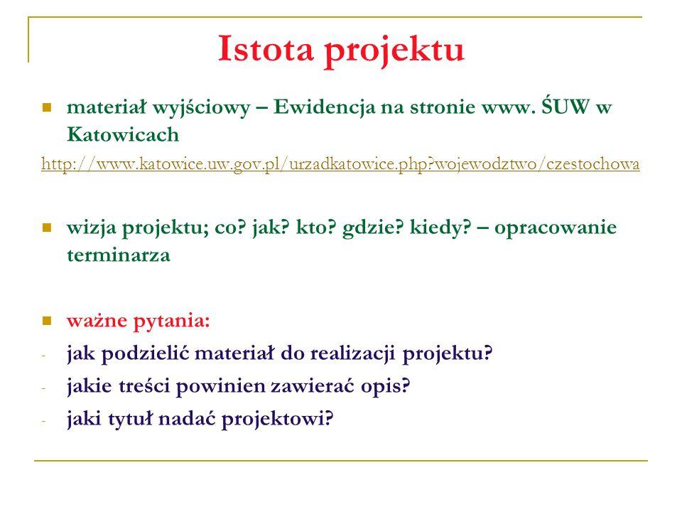 Istota projektu materiał wyjściowy – Ewidencja na stronie www. ŚUW w Katowicach http://www.katowice.uw.gov.pl/urzadkatowice.php?wojewodztwo/czestochow
