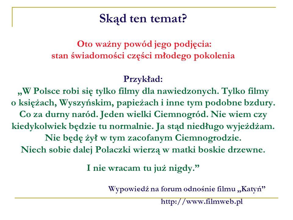Skąd ten temat? Oto ważny powód jego podjęcia: stan świadomości części młodego pokolenia Przykład: W Polsce robi się tylko filmy dla nawiedzonych. Tyl