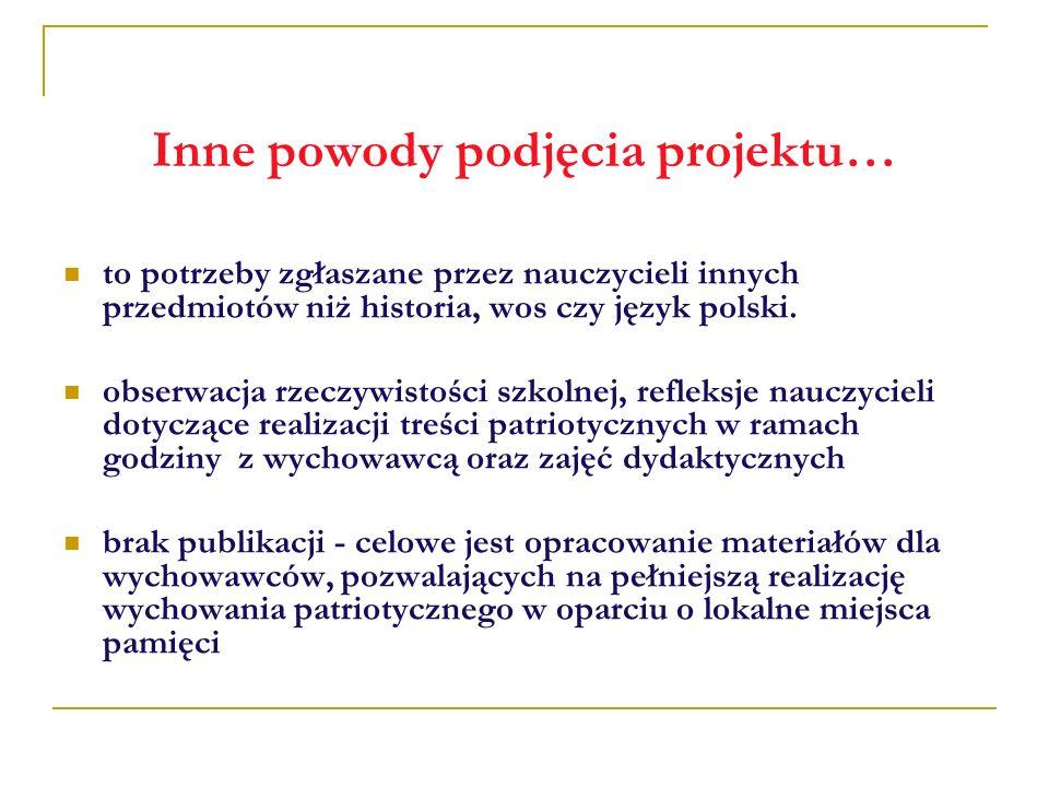 Inne powody podjęcia projektu… to potrzeby zgłaszane przez nauczycieli innych przedmiotów niż historia, wos czy język polski. obserwacja rzeczywistośc