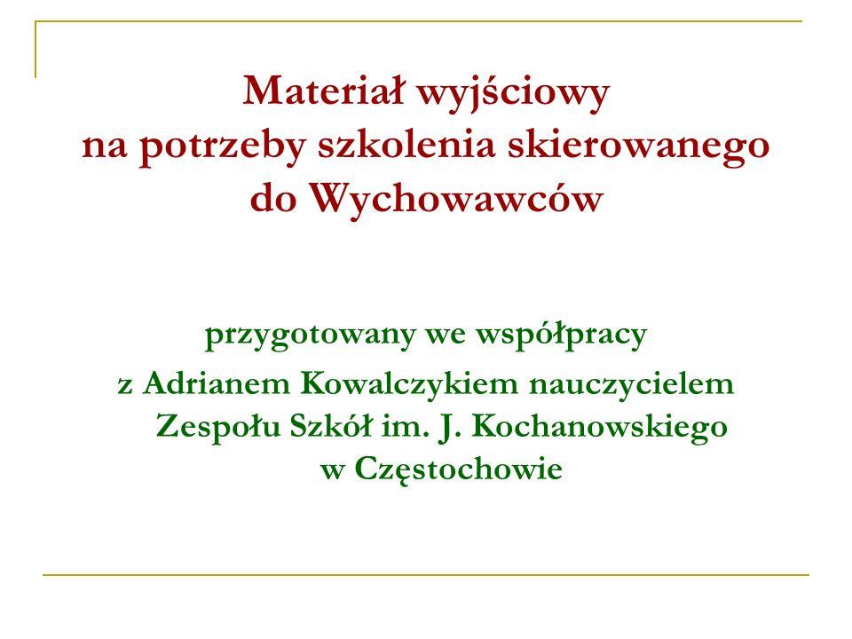 Materiał wyjściowy na potrzeby szkolenia skierowanego do Wychowawców przygotowany we współpracy z Adrianem Kowalczykiem nauczycielem Zespołu Szkół im.