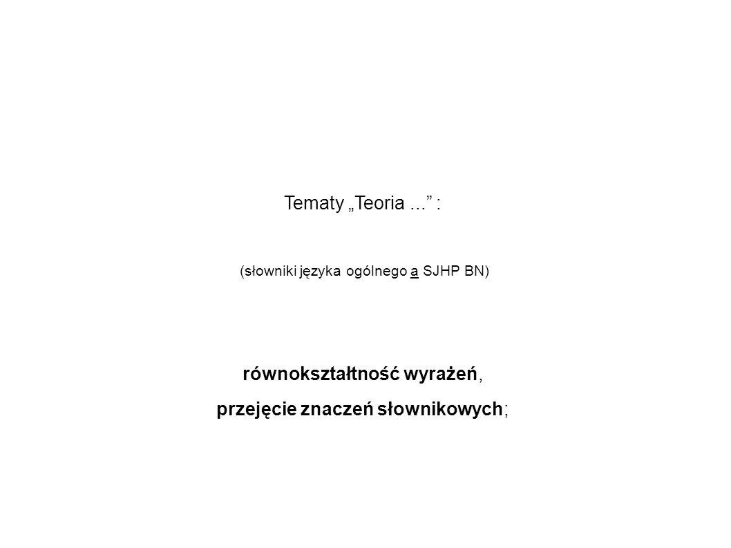 Tematy Teoria... : (słowniki języka ogólnego a SJHP BN) równokształtność wyrażeń, przejęcie znaczeń słownikowych;