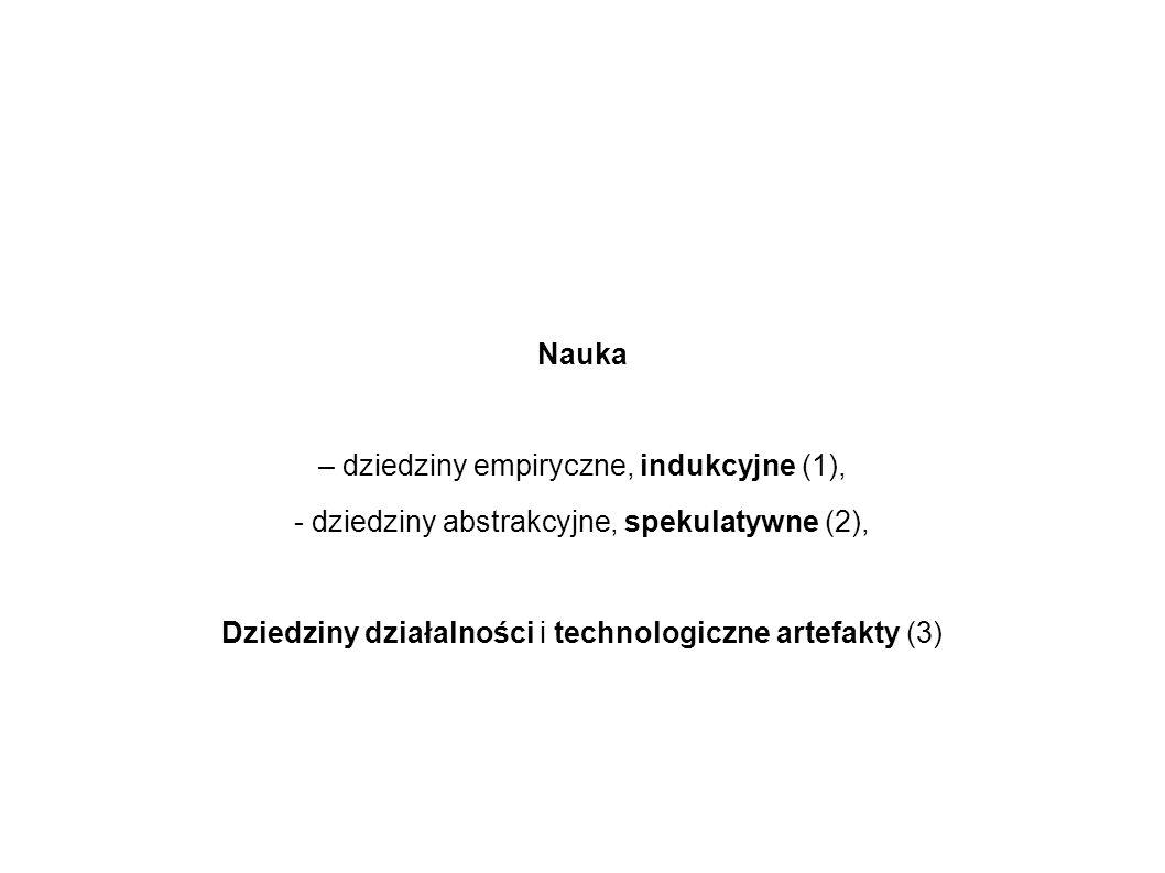 Nauka – dziedziny empiryczne, indukcyjne (1), - dziedziny abstrakcyjne, spekulatywne (2), Dziedziny działalności i technologiczne artefakty (3)