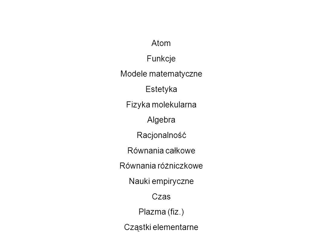 Atom Funkcje Modele matematyczne Estetyka Fizyka molekularna Algebra Racjonalność Równania całkowe Równania różniczkowe Nauki empiryczne Czas Plazma (