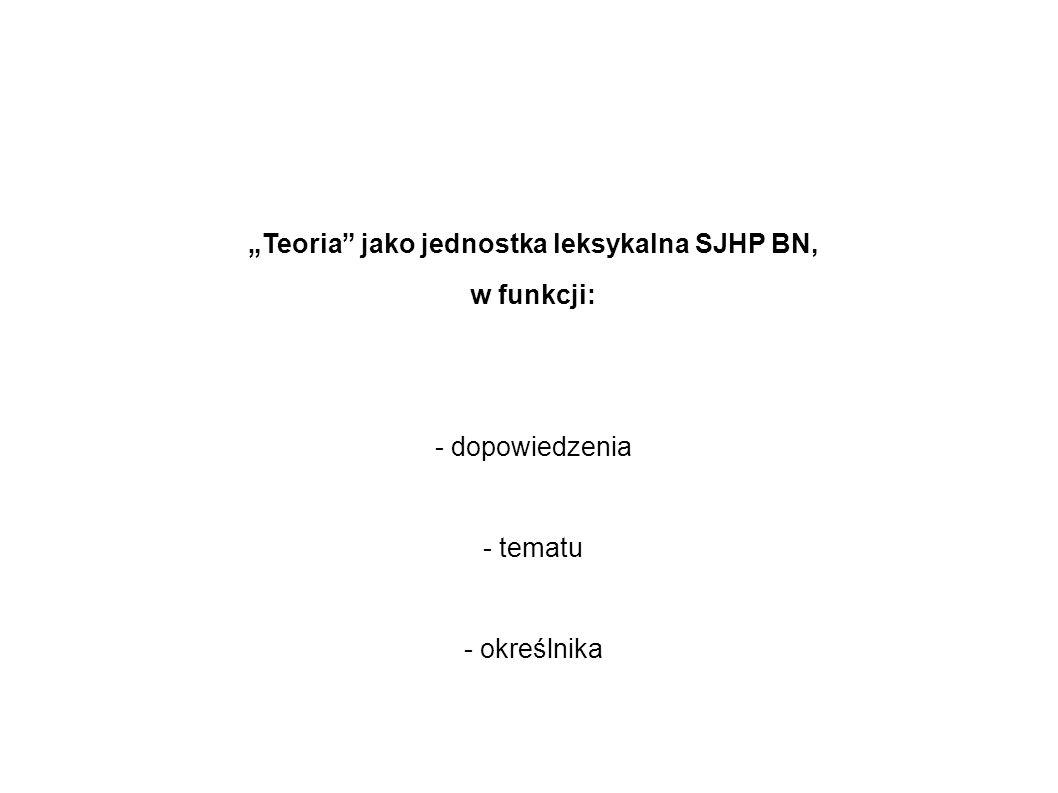 Teoria jako jednostka leksykalna SJHP BN, w funkcji: - dopowiedzenia - tematu - określnika