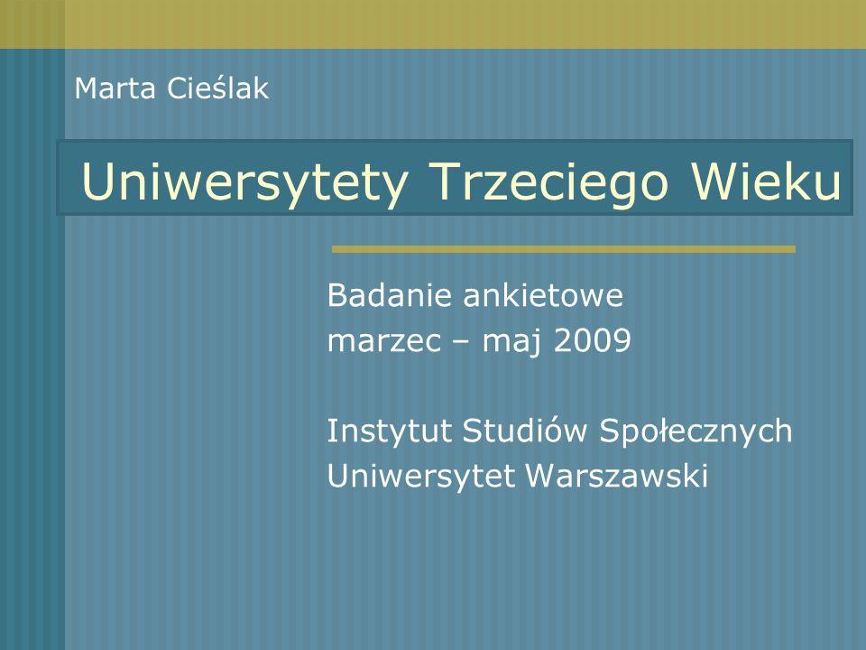 Uniwersytety Trzeciego Wieku Badanie ankietowe marzec – maj 2009 Instytut Studiów Społecznych Uniwersytet Warszawski Marta Cieślak