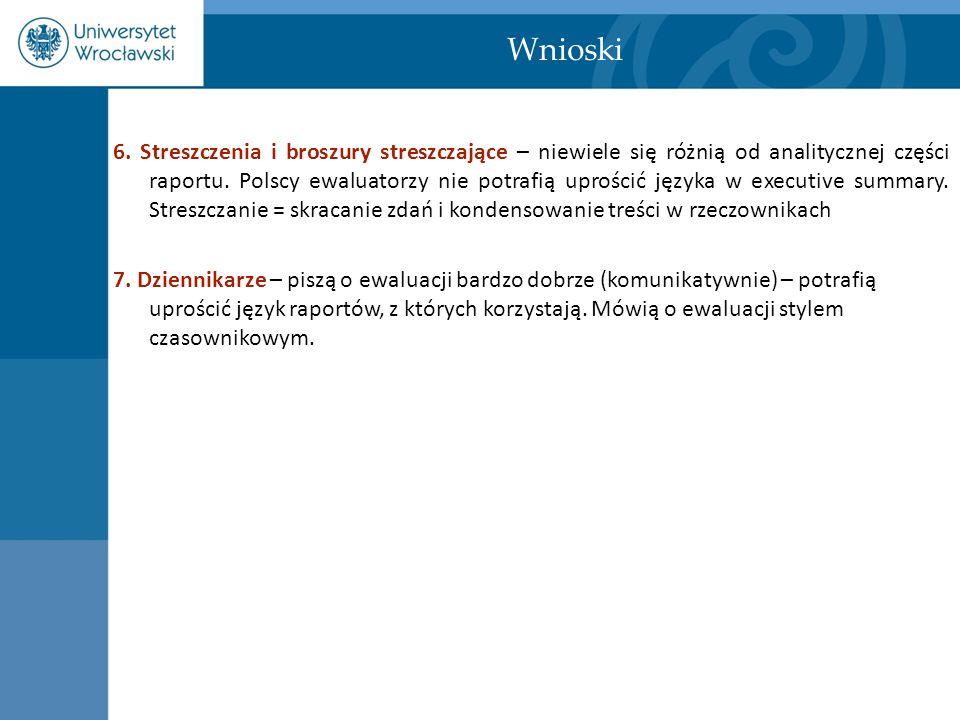 Wnioski 6. Streszczenia i broszury streszczające – niewiele się różnią od analitycznej części raportu. Polscy ewaluatorzy nie potrafią uprościć języka