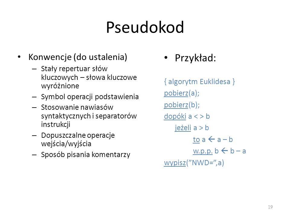 Pseudokod Konwencje (do ustalenia) – Stały repertuar słów kluczowych – słowa kluczowe wyróżnione – Symbol operacji podstawienia – Stosowanie nawiasów
