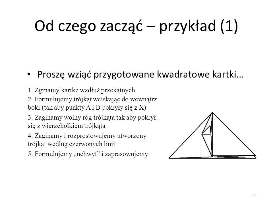 Od czego zacząć – przykład (1) Proszę wziąć przygotowane kwadratowe kartki... 24 1. Zginamy kartkę wzdłuż przekątnych 2. Formułujemy trójkąt wciskając