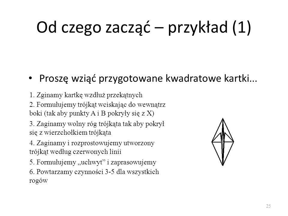 Od czego zacząć – przykład (1) Proszę wziąć przygotowane kwadratowe kartki... 25 1. Zginamy kartkę wzdłuż przekątnych 2. Formułujemy trójkąt wciskając