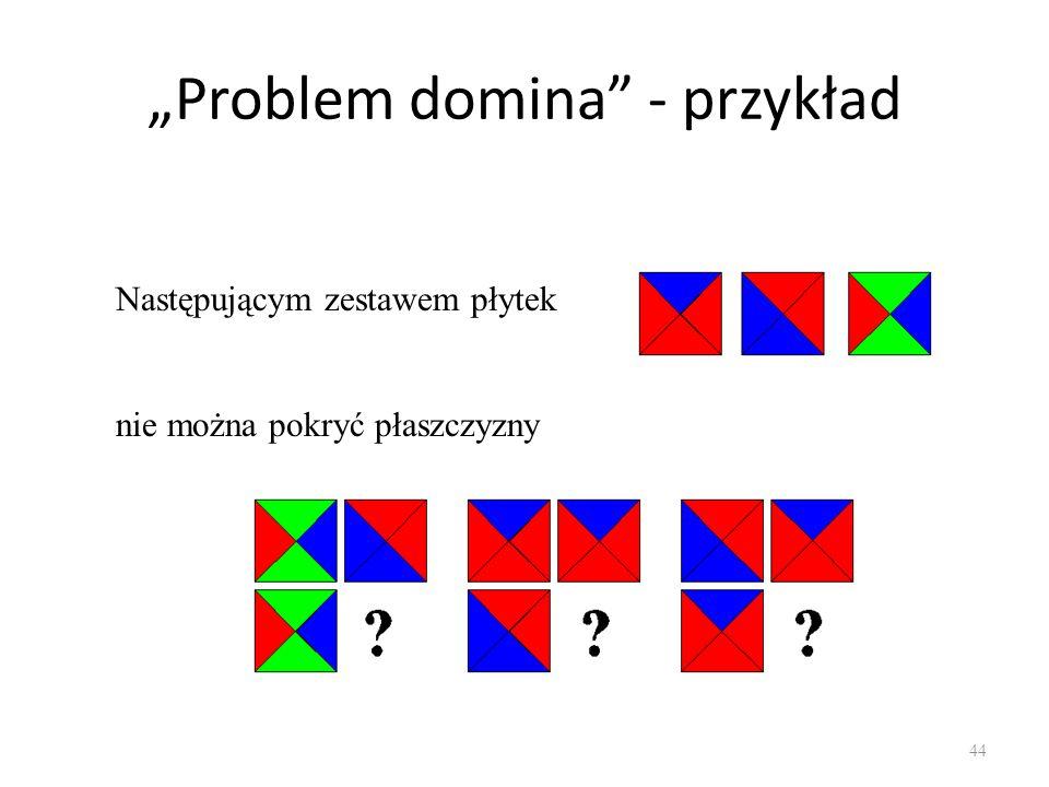 Problem domina - przykład 44 Następującym zestawem płytek nie można pokryć płaszczyzny