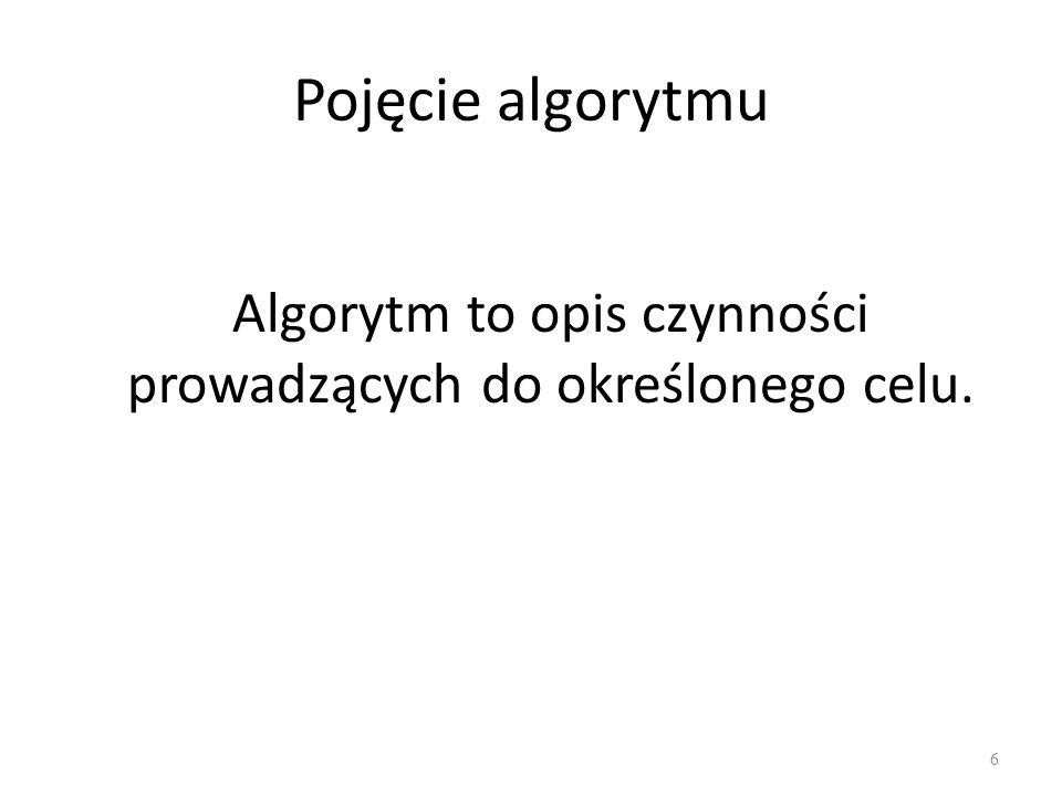Pojęcie algorytmu Algorytm to opis czynności prowadzących do określonego celu. 6