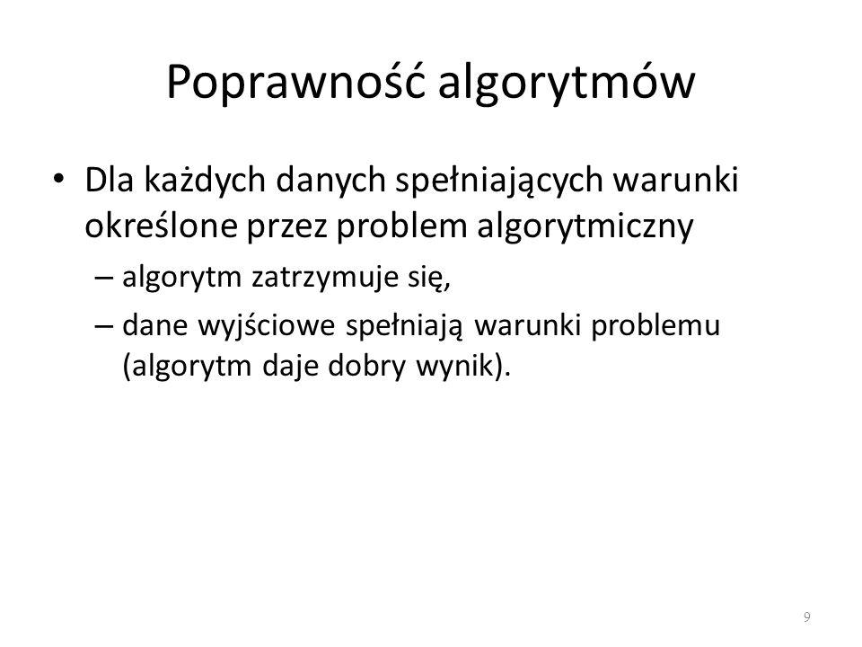 Poprawność algorytmów Dla każdych danych spełniających warunki określone przez problem algorytmiczny – algorytm zatrzymuje się, – dane wyjściowe spełn