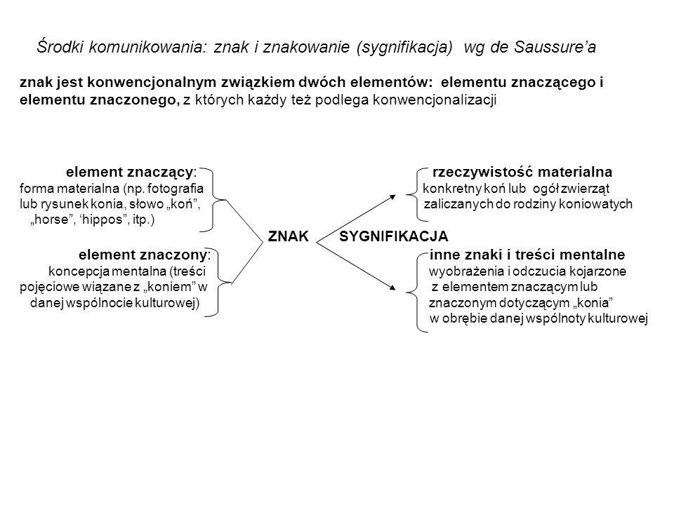 znak jest konwencjonalnym związkiem dwóch elementów: elementu znaczącego i elementu znaczonego, z których każdy też podlega konwencjonalizacji element