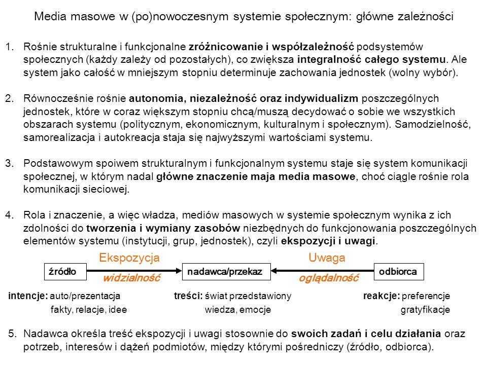 Media masowe w (po)nowoczesnym systemie społecznym: główne zależności 1.Rośnie strukturalne i funkcjonalne zróżnicowanie i współzależność podsystemów