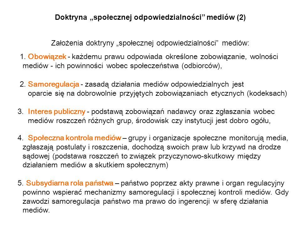 Doktryna społecznej odpowiedzialności mediów (2) Założenia doktryny społecznej odpowiedzialności mediów: 1. Obowiązek - każdemu prawu odpowiada określ