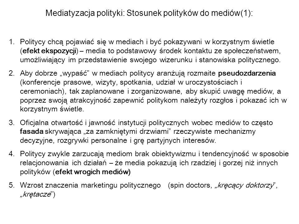 Mediatyzacja polityki: Stosunek polityków do mediów(1): 1.Politycy chcą pojawiać się w mediach i być pokazywani w korzystnym świetle (efekt ekspozycji