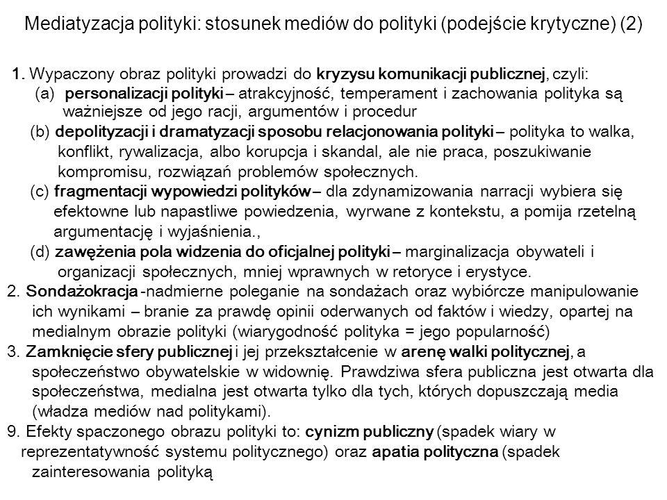 Mediatyzacja polityki: stosunek mediów do polityki (podejście krytyczne) (2) 1. Wypaczony obraz polityki prowadzi do kryzysu komunikacji publicznej, c