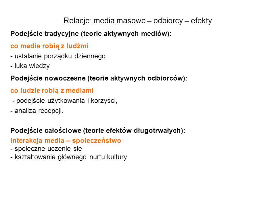 Relacje: media masowe – odbiorcy – efekty Podejście tradycyjne (teorie aktywnych mediów): co media robią z ludźmi - ustalanie porządku dziennego - luk