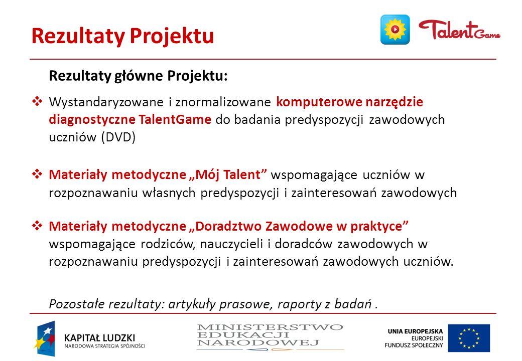Działania w Projekcie Najważniejsze działania realizowane w Projekcie: Opracowanie modeli metodycznych doradztwa zawodowego Badanie potrzeb, pretesty narzędzi Stworzenie prototypu narzędzia TalentGame Standaryzacja wstępna narzędzia TalentGame Produkcja narzędzia TalentGame Standaryzacja ostateczna narzędzia TalentGame Normalizacja narzędzia TalentGame Opracowanie finalne materiałów metodycznych