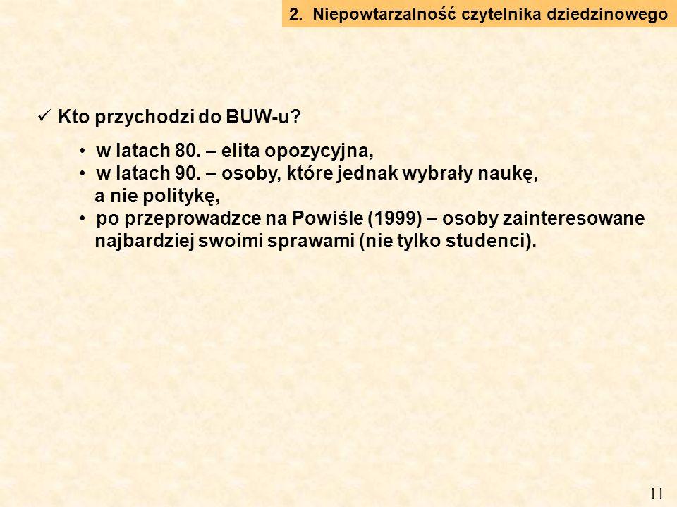 Kto przychodzi do BUW-u. w latach 80. – elita opozycyjna, w latach 90.