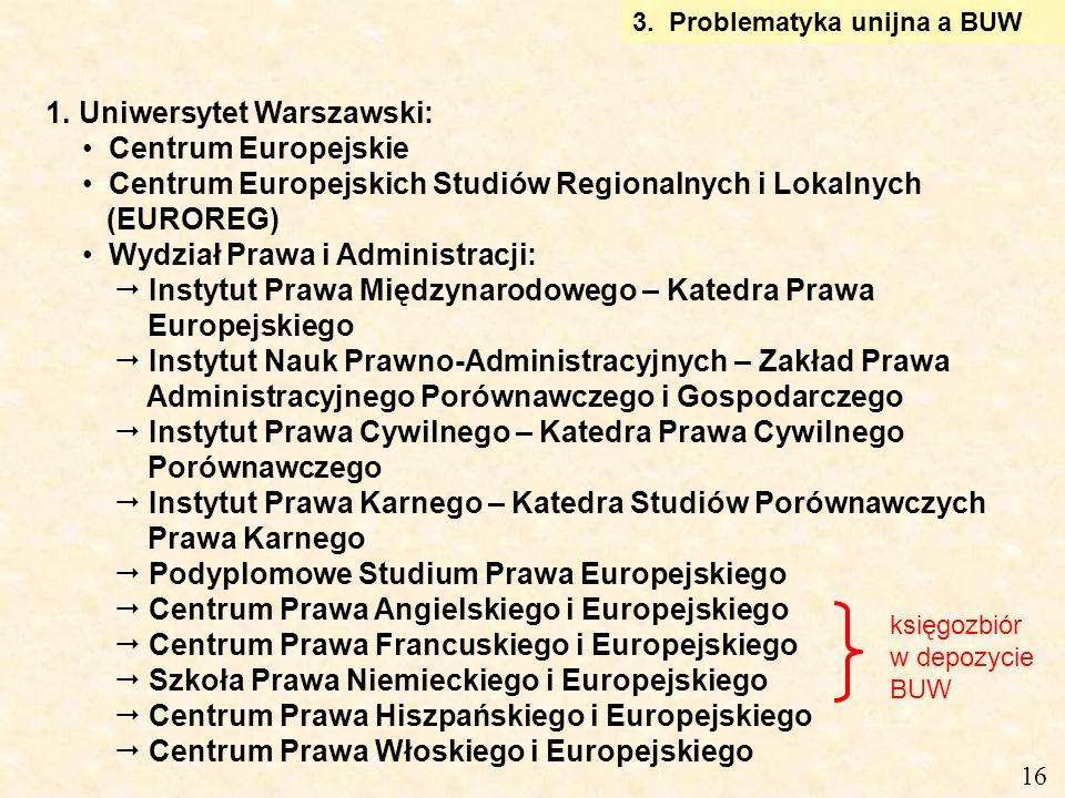 1. Uniwersytet Warszawski: Centrum Europejskie Centrum Europejskich Studiów Regionalnych i Lokalnych (EUROREG) Wydział Prawa i Administracji: Instytut