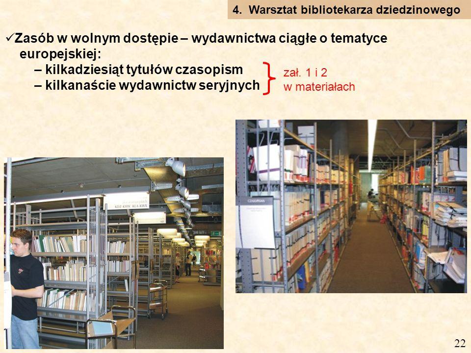Zasób w wolnym dostępie – wydawnictwa ciągłe o tematyce europejskiej: – kilkadziesiąt tytułów czasopism – kilkanaście wydawnictw seryjnych 4.