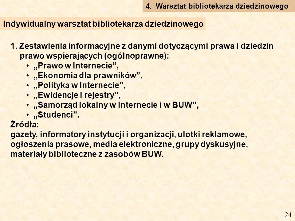 1. Zestawienia informacyjne z danymi dotyczącymi prawa i dziedzin prawo wspierających (ogólnoprawne): Prawo w Internecie, Ekonomia dla prawników, Poli