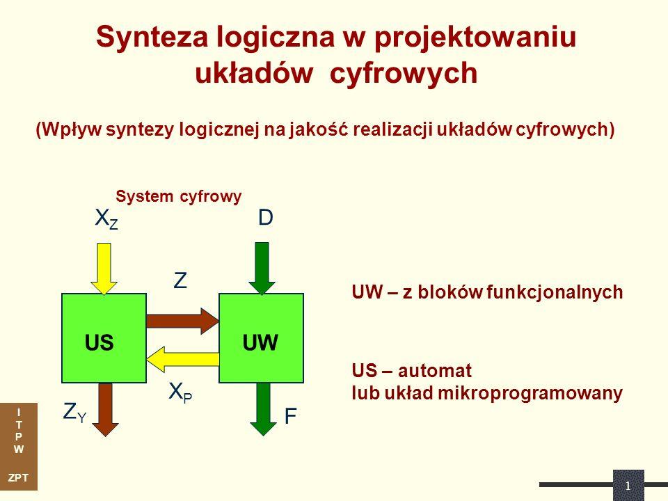 I T P W ZPT 1 System cyfrowy UW – z bloków funkcjonalnych US – automat lub układ mikroprogramowany XZXZ XPXP ZYZY Z D F USUW Synteza logiczna w projek