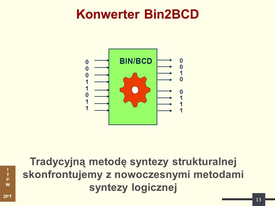 I T P W ZPT Konwerter Bin2BCD Tradycyjną metodę syntezy strukturalnej skonfrontujemy z nowoczesnymi metodami syntezy logicznej BIN/BCD 000110110001101