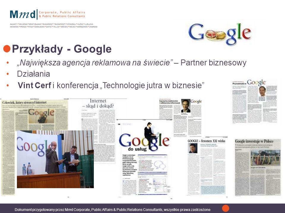 Dokument przygotowany przez Mmd Corporate, Public Affairs & Public Relations Consultants, wszystkie prawa zastrzeżone Największa agencja reklamowa na świecie – Partner biznesowy Działania Przykłady - Google Vint Cerf i konferencja Technologie jutra w biznesie