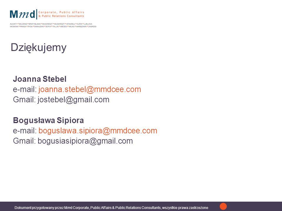 Dokument przygotowany przez Mmd Corporate, Public Affairs & Public Relations Consultants, wszystkie prawa zastrzeżone Dziękujemy Joanna Stebel e-mail: joanna.stebel@mmdcee.com Gmail: jostebel@gmail.com Bogusława Sipiora e-mail: boguslawa.sipiora@mmdcee.com Gmail: bogusiasipiora@gmail.com