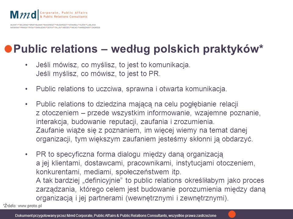Dokument przygotowany przez Mmd Corporate, Public Affairs & Public Relations Consultants, wszystkie prawa zastrzeżone Public relations – według polskich praktyków* Jeśli mówisz, co myślisz, to jest to komunikacja.