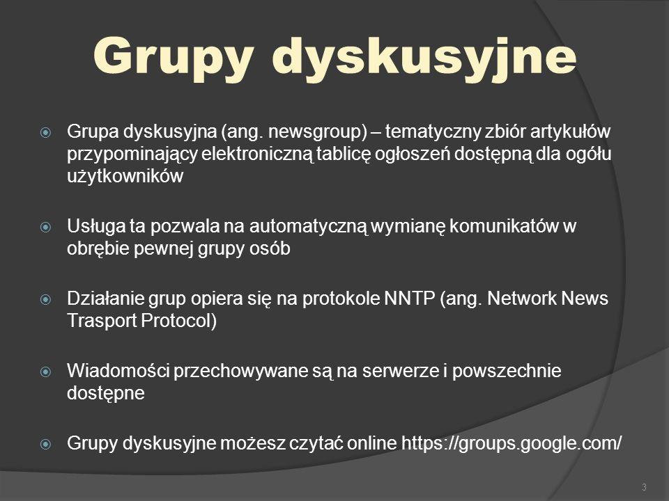 3 Grupa dyskusyjna (ang. newsgroup) – tematyczny zbiór artykułów przypominający elektroniczną tablicę ogłoszeń dostępną dla ogółu użytkowników Usługa