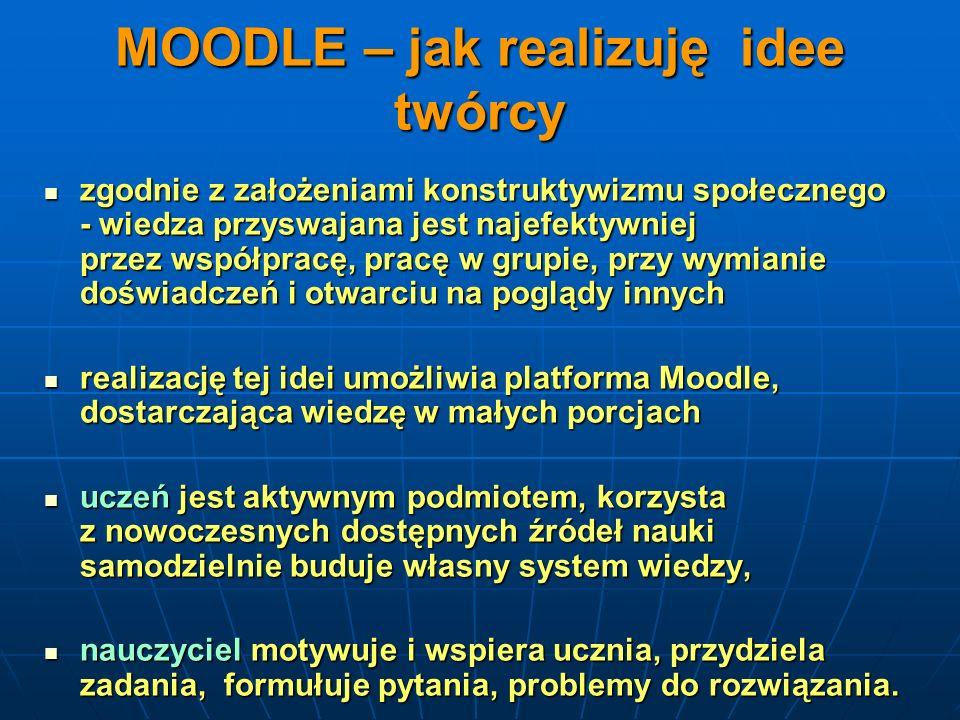 MOODLE – jak realizuję idee twórcy zgodnie z założeniami konstruktywizmu społecznego - wiedza przyswajana jest najefektywniej przez współpracę, pracę