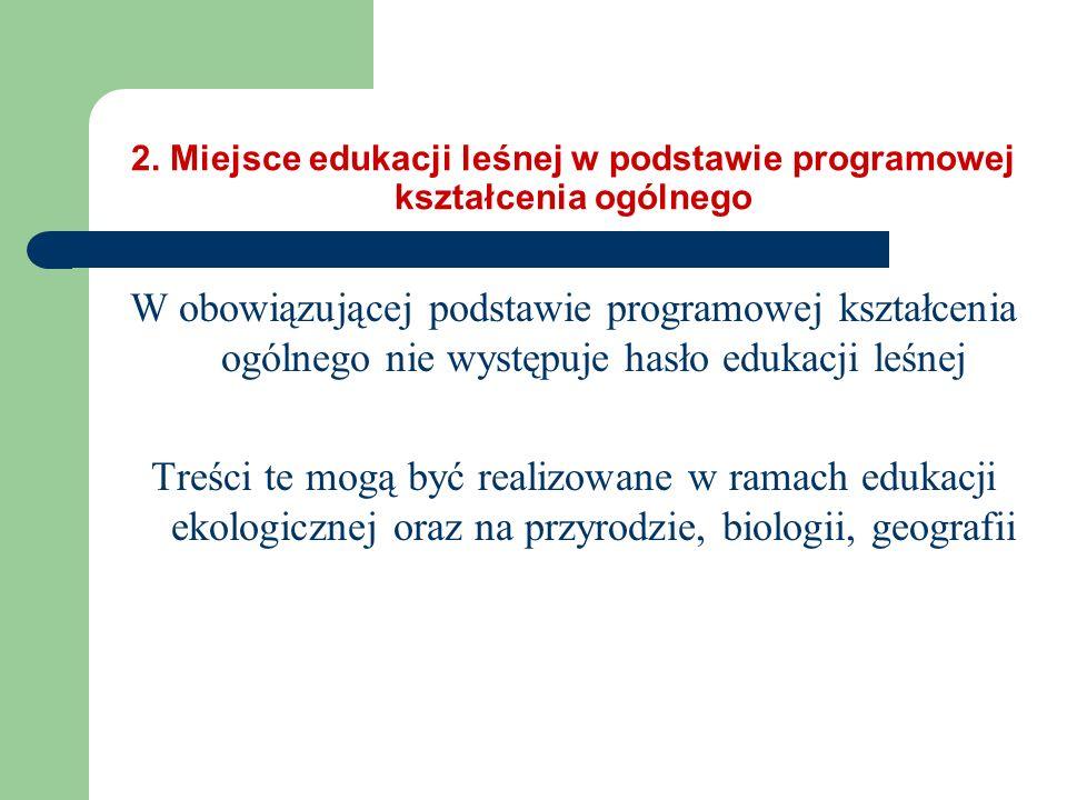 2. Miejsce edukacji leśnej w podstawie programowej kształcenia ogólnego W obowiązującej podstawie programowej kształcenia ogólnego nie występuje hasło