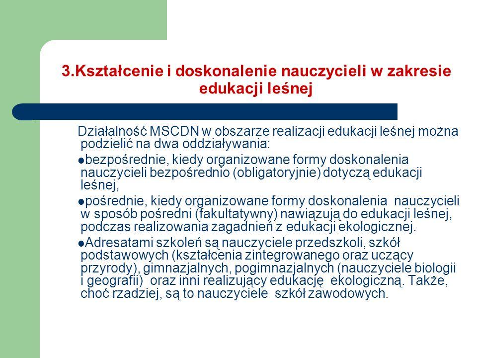 3.Kształcenie i doskonalenie nauczycieli w zakresie edukacji leśnej Działalność MSCDN w obszarze realizacji edukacji leśnej można podzielić na dwa odd