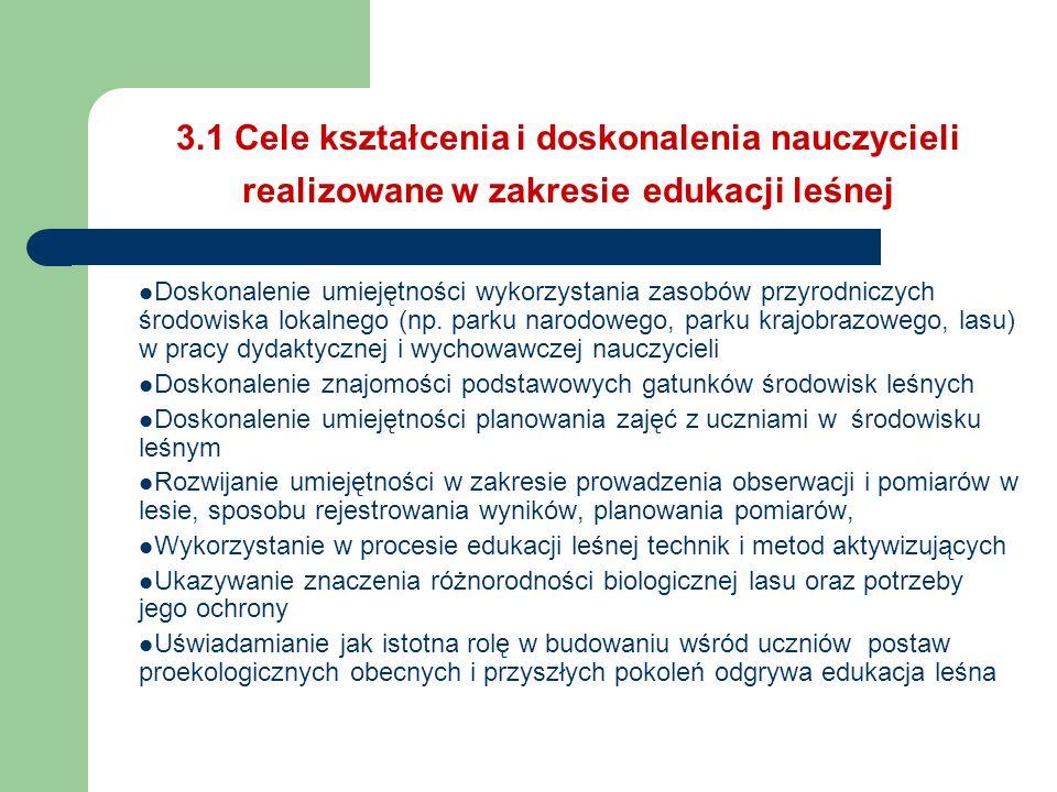 3.1 Cele kształcenia i doskonalenia nauczycieli realizowane w zakresie edukacji leśnej Doskonalenie umiejętności wykorzystania zasobów przyrodniczych
