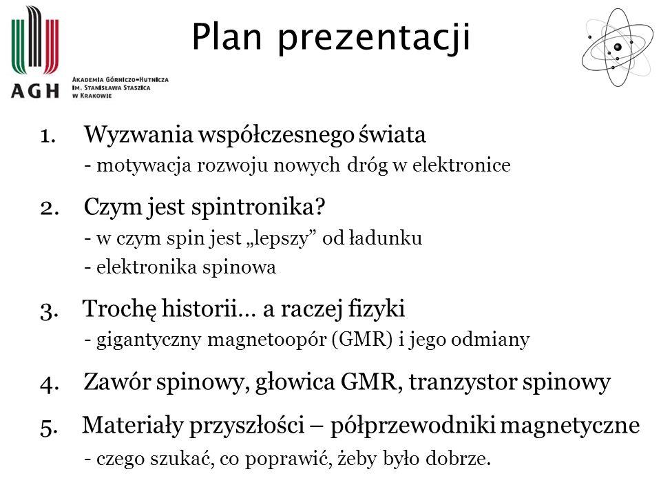 Plan prezentacji 1.Wyzwania współczesnego świata - motywacja rozwoju nowych dróg w elektronice 2.Czym jest spintronika? - w czym spin jest lepszy od ł
