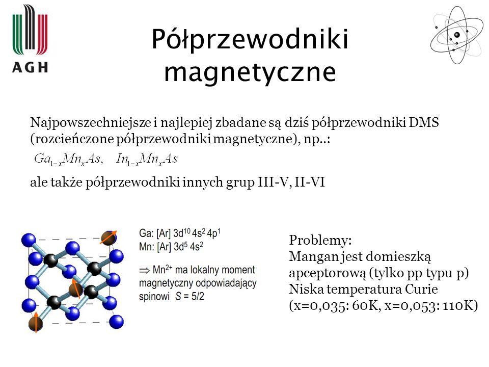 Pó ł przewodniki magnetyczne Najpowszechniejsze i najlepiej zbadane są dziś półprzewodniki DMS (rozcieńczone półprzewodniki magnetyczne), np..: ale ta