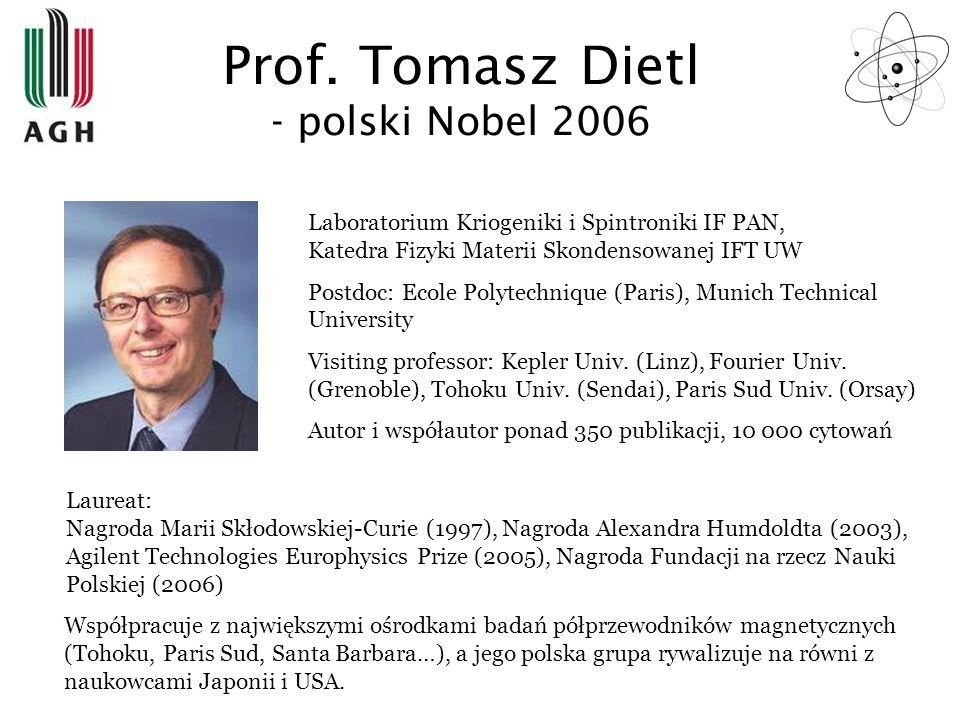 Prof. Tomasz Dietl - polski Nobel 2006 Laboratorium Kriogeniki i Spintroniki IF PAN, Katedra Fizyki Materii Skondensowanej IFT UW Postdoc: Ecole Polyt